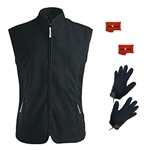 ActiVHeat Women's Battery Heated Windproof Fleece Vest + Weightless Glove Liner  Bundle