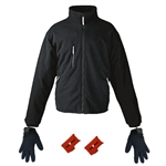 ActiVHeat Men's Battery Heated Windproof Fleece Jacket + Weightless Glove Liner  Bundle