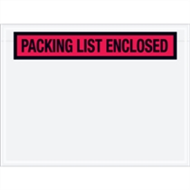 "4.5"" x 6"" Packing List Enclosed Envelopes Red"