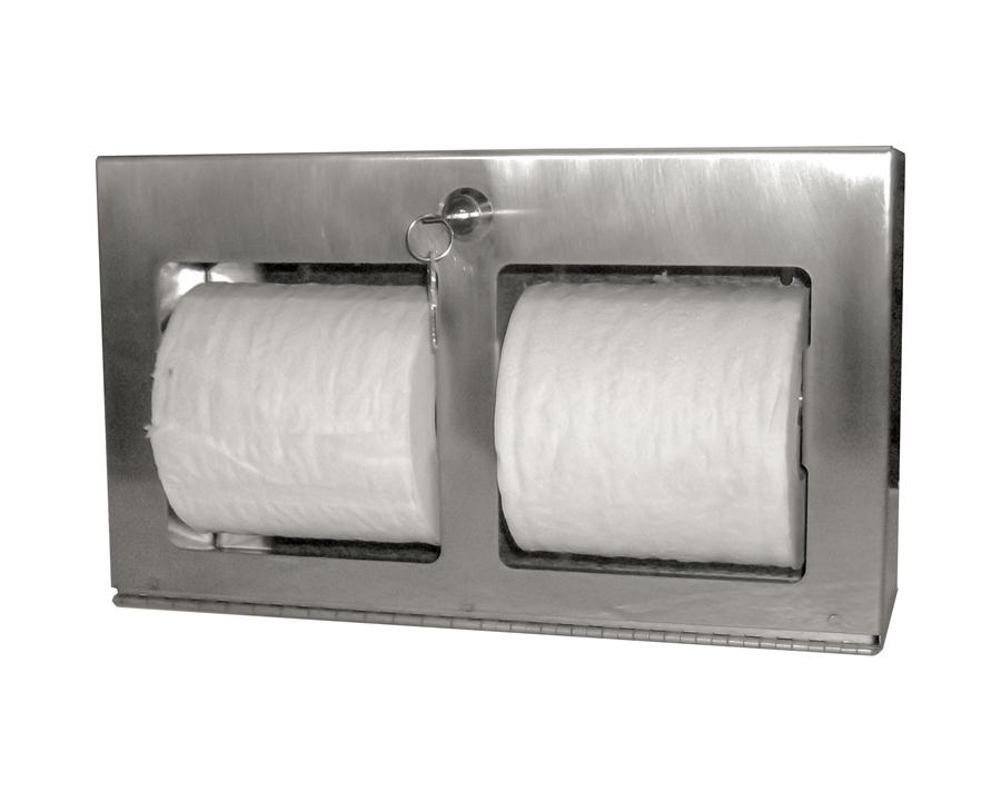 Locking Double Roll Toilet Tissue Dispenser- Horizontal, Surface Mount