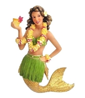 December Diamonds Mai Tai Hawaiian Glitter Mermaid w/Drink Christmas
