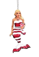 December Diamonds Peppermint Red and White Mermaid Christmas Ornament