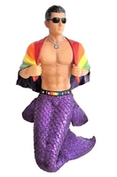 December Diamonds Gay Pride Merman w/Rainbow Flag Christmas Ornament