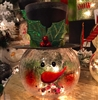 "GERSON 12""H Electric Crackle Lighted Glass Snowman (OUT OF STOCK)"