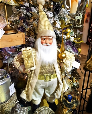 "GERSON 32"" Ivory and Gold Elegant Standing Santa"
