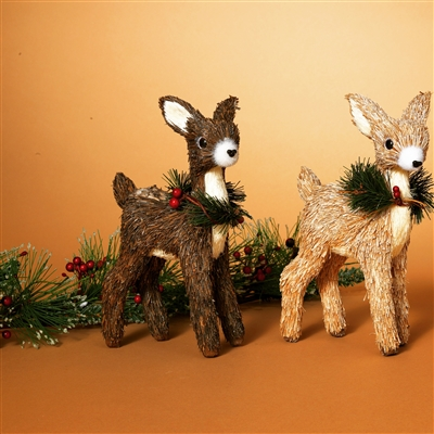GERSON 9.25''H JUTE DEER FIGURINE WITH PVC PINE FLORAL ACCENT (SET OF 2)