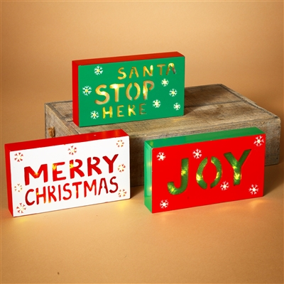 GERSON 8.25''L B/O LIGHTED WOOD HOLIDAY SIGN (SET OF 3)