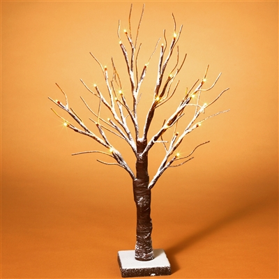 GERSON 24''H B/O SNOWY LED LIGHTED TREE WITH TIMER, 24 LIGHTS