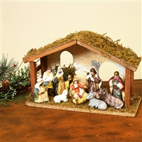 GERSON 11-PC PORCELAIN NATIVITY SET WITH WOOD CRECHE IN PHOTO BOX