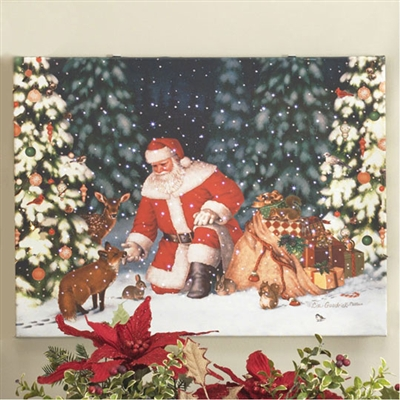 "RAZ IMPORTS 24"" LIGHTED SANTA IN FOREST PRINT ON CANVAS"