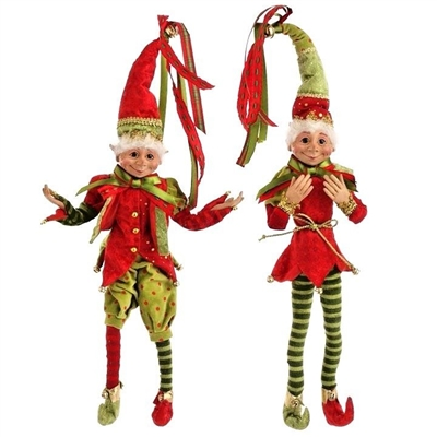 "Raz Imports 20'' Elf Ornament Red & Green ""Santa Supply Collection"" (Set of 2) RAZ3202681"