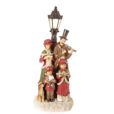 "RAZ IMPORTS 15.5"" CAROLERS WITH LIGHTED LAMP POST"