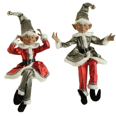 "RAZ IMPORTS 30"" POSABLE ELF (Set of 2) Silver Bells Collection."