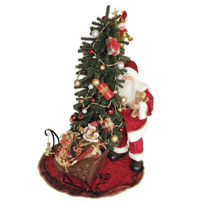 "RAZ IMPORTS 54"" SANTA AND ELF TRIMMING A LIGHTED TREE DISPLAY"