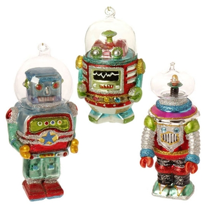 RAZ IMPORTS 5.5 INCH GLASS ROBOT IN SPACE ORNAMENTS (Set of 3)