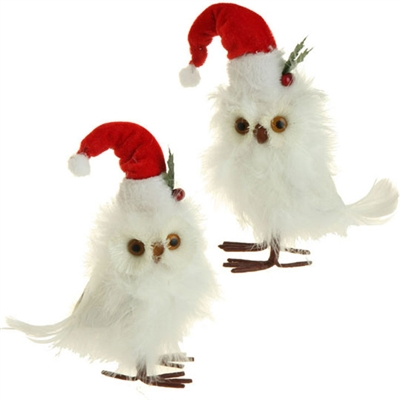 "RAZ IMPORTS 7.5"" FEATHERED OWL WITH SANTA HAT (Set of 4)"