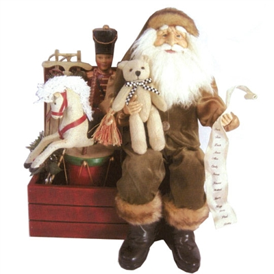 "RAZ IMPORTS 15"" SANTA ON TOY BOX"
