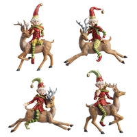 "5.5"" ELF ON REINDEER ORNAMENT (Set of 4) Santa'S Holiday Collection"