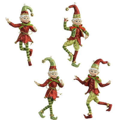 "5.5"" ELF ORNAMENT (Set of 4) Snow Biz Collection"