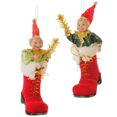"RAZ IMPORTS 7"" ELF IN BOOT ORNAMENT (Set of 2)"