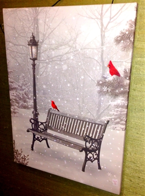"RAZ IMPORTS 24"" LIGHTED CARDINAL PRINT CARDINAL ON A BENCH  OUT OF STOCK FOR SEASON"