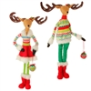 "RAZ IMPORTS 29"" POSABLE STANDING DEER ORNAMENT RED/GRN (SET OF 2)"