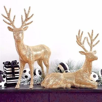 RAZ IMPORTS 31'' GOLD FLAT RHINESTONE DEER (SET OF 2)  SOLD OUT FOR SEASON
