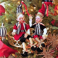 "Raz Imports 16"" Posable Elf ""Glad Tiding"" Collection (Set of 2) RAZ3702371  OUT OF STOCK NOT AVAIALBE"