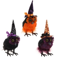 "RAZ IMPORTS 7.5"" HALLOWEEN FEATHERED OWLS (Set of 3)"