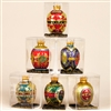 STERLING 80MM GLASS FABERGE EGG SOFT COLORS, GLITTERED (SET OF 6)