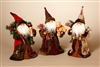 STERLING 12'' WOODLAND CONE SANTA W/STAFF, BEAR & SACK (SET OF 3)