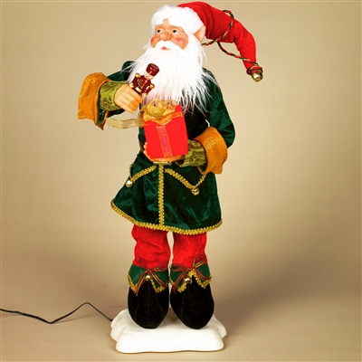 STERLING 24'' A/C ANIMATED ELF W/NUTCRACKER AND GIFT
