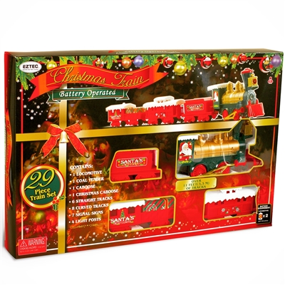 STERLING 29 PC B/O CHRISTMAS TRAIN SET