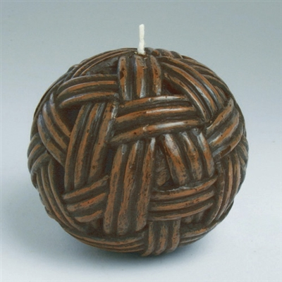 Tag Decorative Ball Candle Basket Weave (Brown) Set of 6