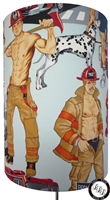 Firemen with blue background