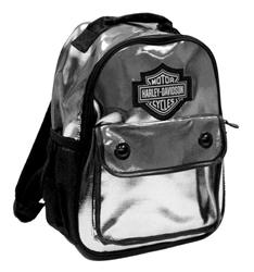 Harley Davidson Backpack Girls Metallic Silver Leather