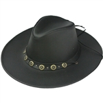 Men's Cowhide Black Leather Cowboy Hats