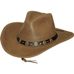 Men's Tan Cowhide Leather Cowboy Hats