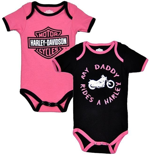 Harley davidson baby body suit twin pack my daddy rides a harley