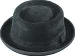 Henschel Black Suede Leather Porkpie Hat