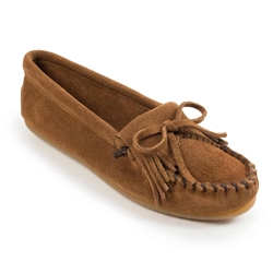 Women's Brown Kilty Suede Minnetonka Moccasin
