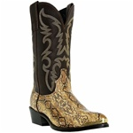"Mens Laredo ""Monty"" Golden Brown Snake Print Boot"