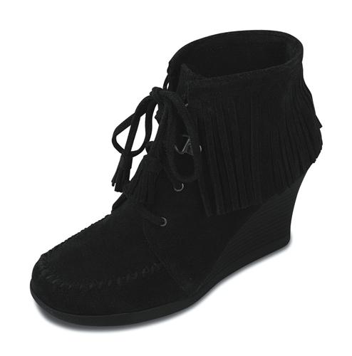 limited edition minnetonka fringe ankle wedge boot