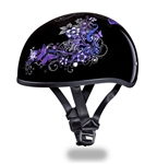 Purple Butterfly Ladies Motorcycle Helmet - Slim