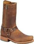 Double-H Brown Leather Harness Boot - Side Zipper