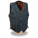 Classic Denim Motorcycle Vest for Bikers