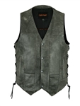 Men's Distressed Leather Motorcycle Vest