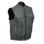 Gray Leather Motorcycle Vest for Men: Club Vest