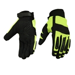 Men's Safety Motorcycle Gloves - High Visibility Green