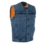 Men's Denim Motorcycle Vests: Collarless